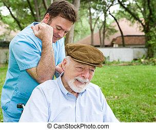 massage terapeut, hos, klient