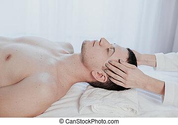 massage thérapeutique, mâle, masseuse, spa, marques