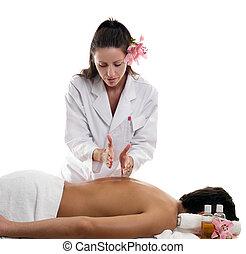 Massage Therapies - Hacking - A masseuse performing hacking...