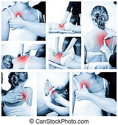 Massage therapist giving a massage. female receiving professional massage. Various massage