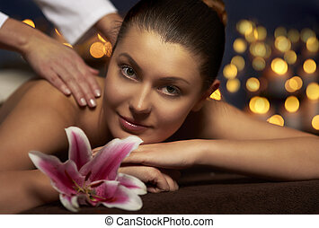 Massage therapist makes her feel relaxed