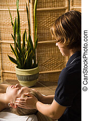 Massage therapist - woman in a day spa getting a massage by...