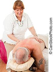 massage therapist, verlustigt zich in, werken