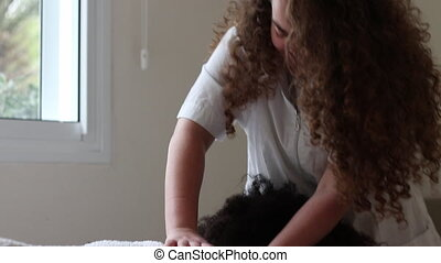 Massage Therapy for patient covered with towl - Professional...