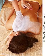 massage, von, frau, in, schoenheit, spa.
