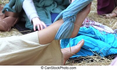 Massage with a cloth - RUSSIA, ABRAU - JUNE 20, 2017: Zifa...