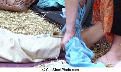 Massage with a cloth - RUSSIA, ABRAU - JUNE 20, 2017: Zifa...