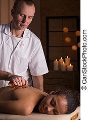Massage with massage equipment