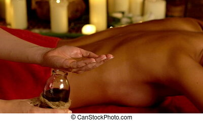 Massage woman hands on therapy shoulder . - Massage woman...