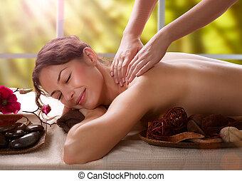 massage., zdrój, salon
