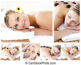 massaged, colagem, jovem, sendo, atraente, menina