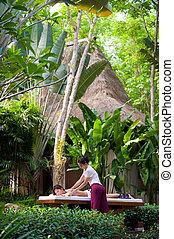 massagem, ao ar livre
