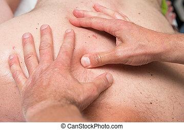 massagem atletismos, terapeuta, no trabalho