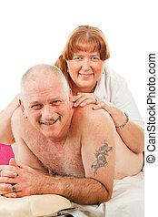 massagem, com, amor