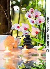 massagem, composição, spa, com, vela