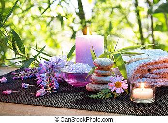 massagem, em, a, bambu, jardim, com, v