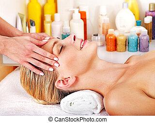 massagem, facial, mulher, obtendo