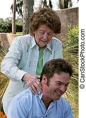 massagem, mãe