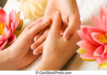 massagem, mão