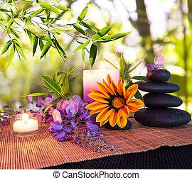 massagem, pedras, com, bambu, backgrou