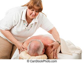 massagem, -, suave, toque
