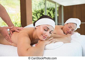 massagens, amigos, bonito, junto, obtendo