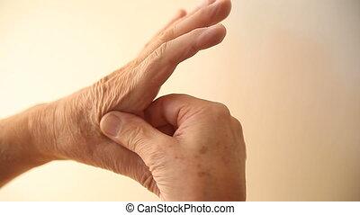 massages, main, homme, secteur