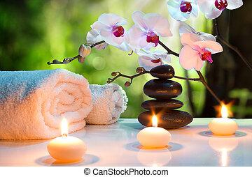 massaggio, candela, composizione, terme