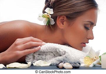 massaggio, durante, femmina, procedura, lussuoso