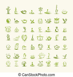 massaggio, e, terme, set, di, icone, per, tuo, disegno