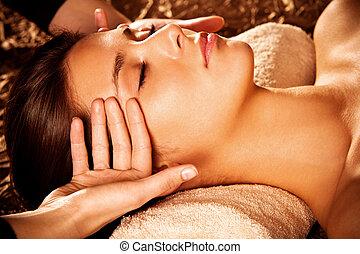 massaggio, faccia