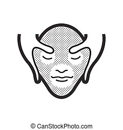 massaggio facciale, icona