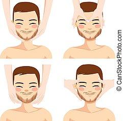 massaggio facciale, uomo