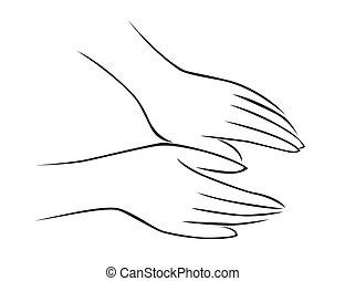 massaggio, mano