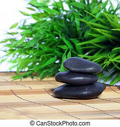 massaggio, pietre, in, uno, terme