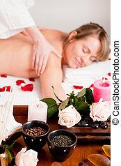 massaggio posteriore, in, terme