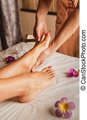 massaggio, room., tailandese, piede, rilassare, tradizionale