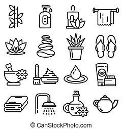 massaggio, terme, terapia, cosmetica, icons.