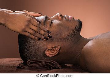 massaggio, uomo, ricevimento, fronte