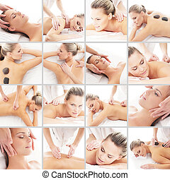 Massaging collage. Spa, rejuvenation, skin care, healing and medicine concept.