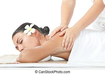 portrait of young beautiful woman massage on white back