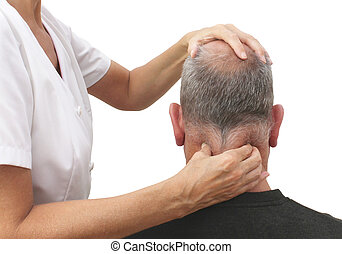 Female sports massage therapist working on mature male patient's tight neck muscles, white background