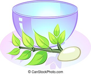 Illustration of massaging bowl and massage stone