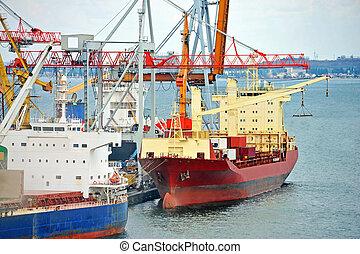 masse, cargaison, sous, bateau, port, grue