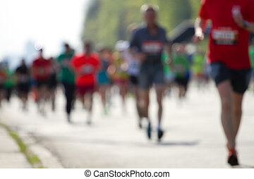 masse, marathonläufer, verwischt