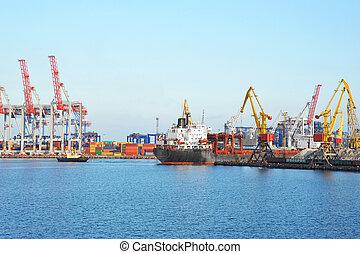 masse, remorqueur, aider, bateau, cargaison