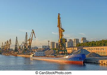 masse, terminal, bateau, port