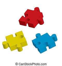 masse, vecteur, trois, illustration, puzzle.