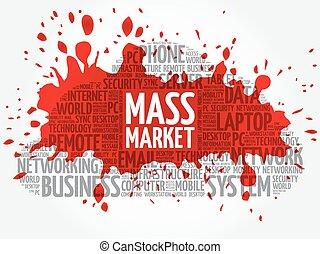 masse, wort, markt, wolke