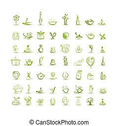 masseren, en, spa, set, van, iconen, voor, jouw, ontwerp
